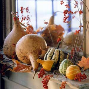 Gourds on a mantle