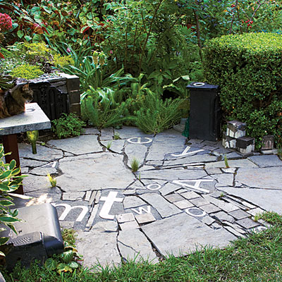 circular patio recycled with letters