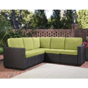 Green Outdoor Wicker Sectional