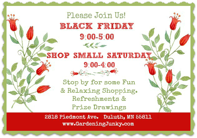 Holiday Sales at Gardening Junky