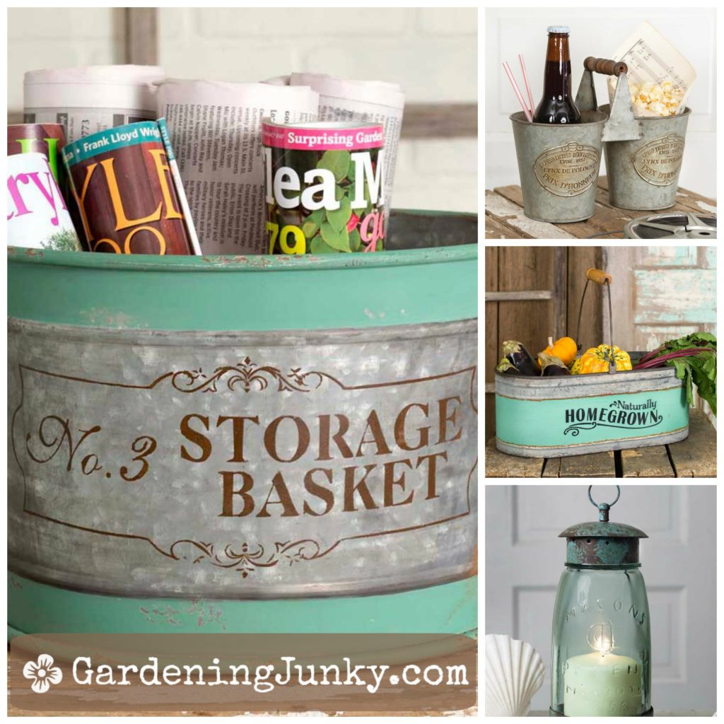 Farmhouse style metal planters and storage containers